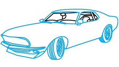 Challenger drawing fast 7. How to draw ford