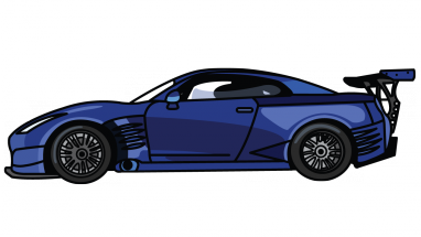 R34 drawing professional car. Nissan gtr fast and