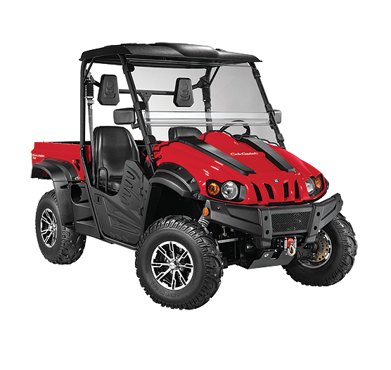 Challenger drawing car off road. Specifications utility vehicles cub