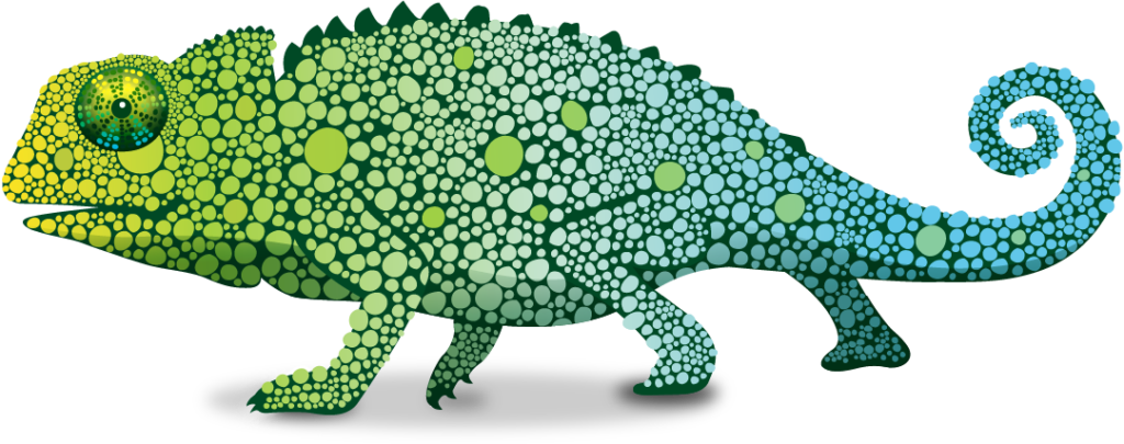 Pascal drawing cameleon. Chameleon transparent background vector