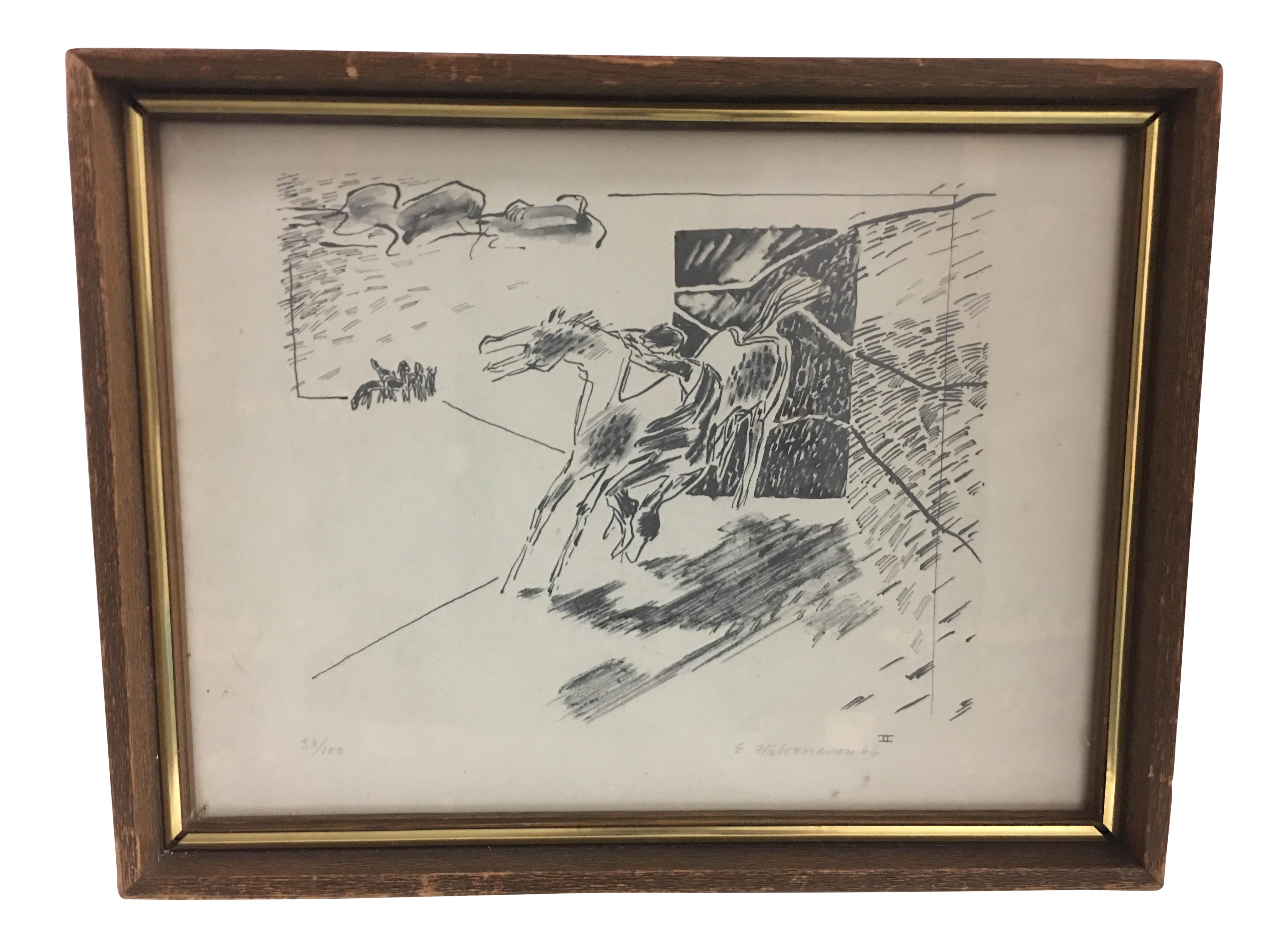 Chamois drawing vintage. Horse and man chairish