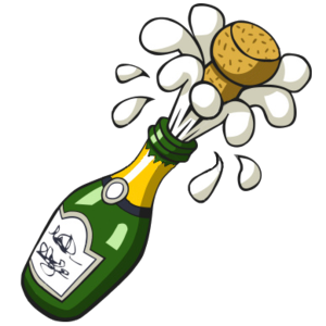 Drawing bottles cute. Ist popping champagne bottle