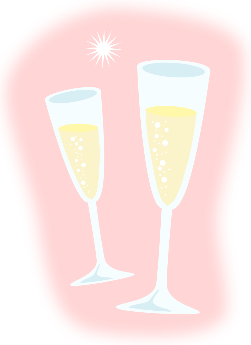 Pink champagne glasses png. Free stock photo illustration