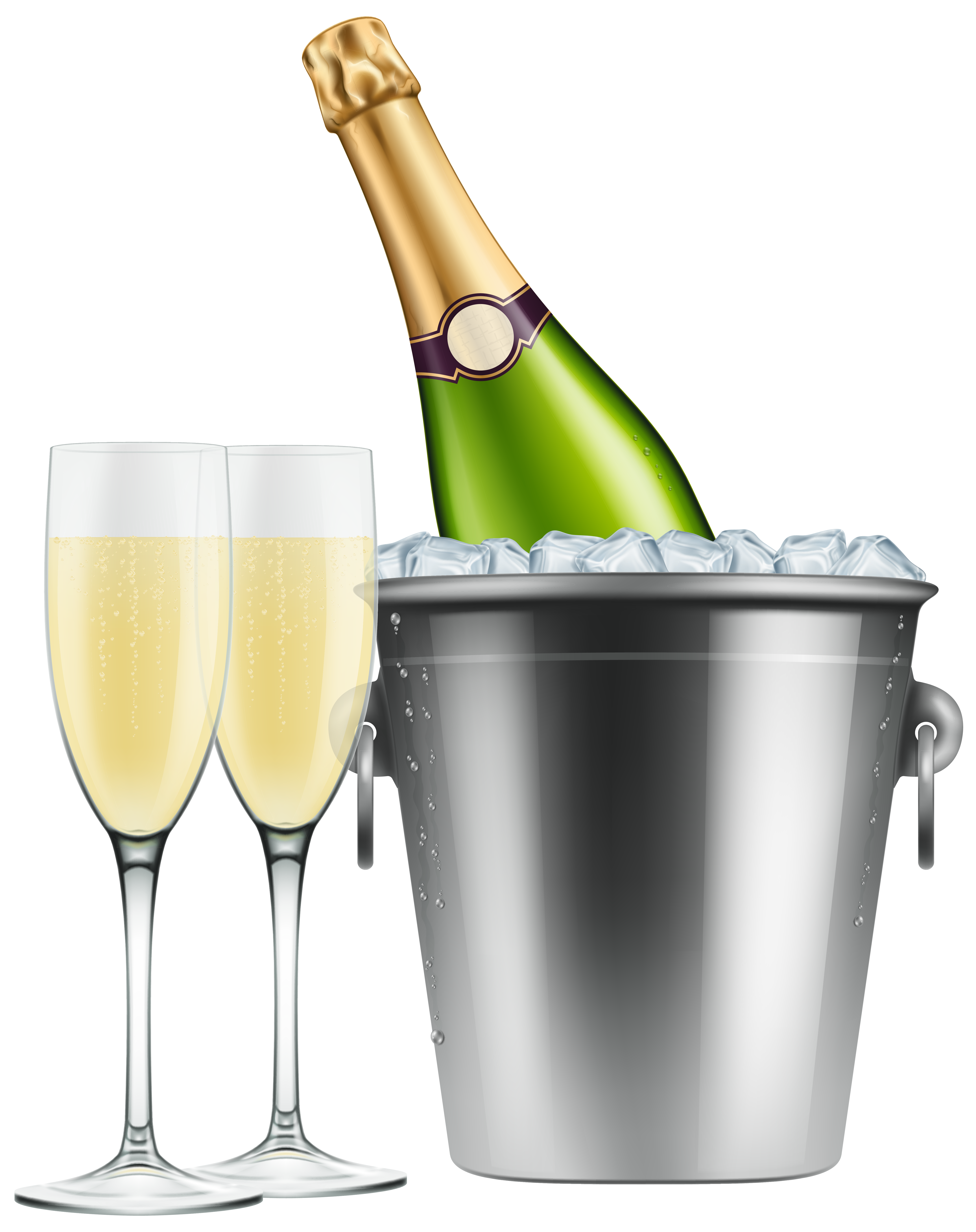 Champagne bucket png. In ice and glasses