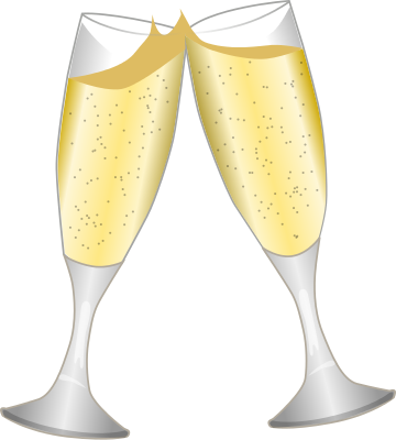 Champagne toast png. Holiday new year glasses