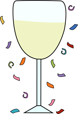 Champagne transparent confetti. Glass and clip art