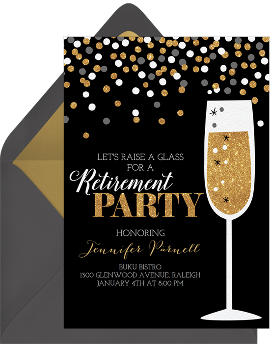 Champagne transparent confetti. Invitations in gold greenvelope