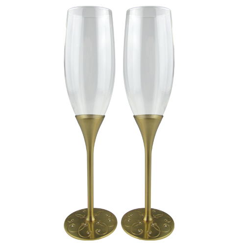 Champagne transparent crystal. Luxury gold plated glass