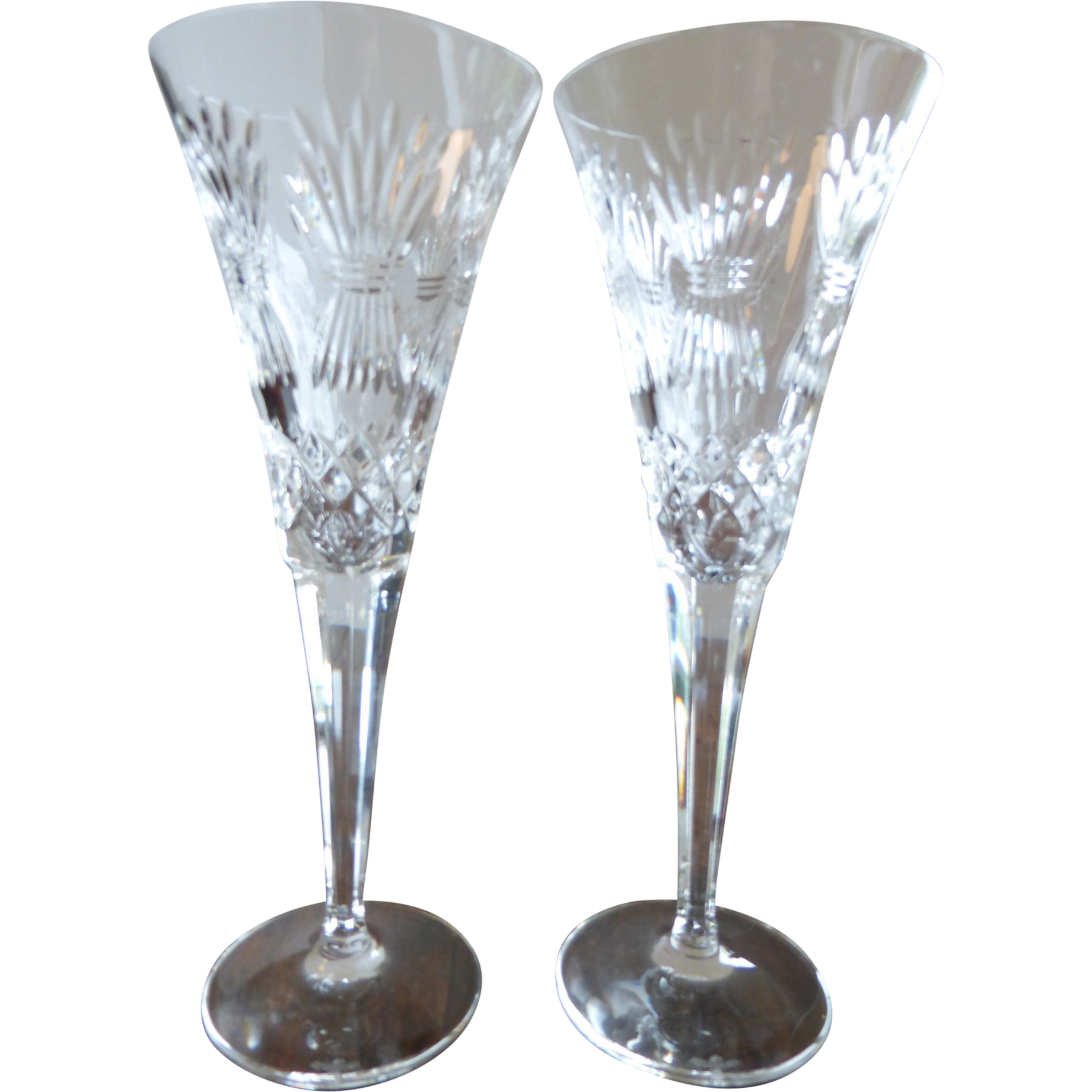 Champagne transparent crystal. Waterford flutes millennium series