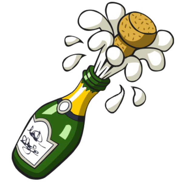 Champagne transparent pop vector. Ist popping bottle free