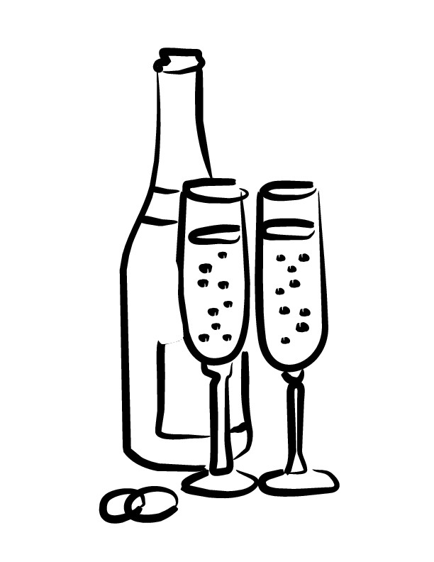 Champaign clipart black and white. Champagne bottle drawing at
