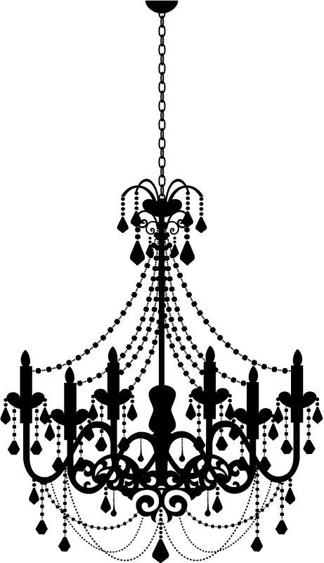 Wall decal kid in. Chandelier clipart jpg black and white stock