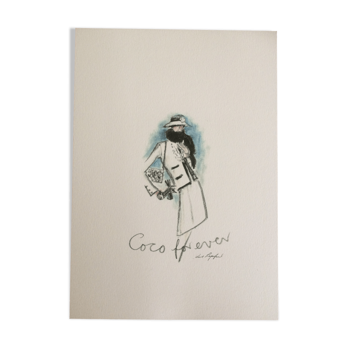 Chanel drawing quote. Sketch of fashion paper