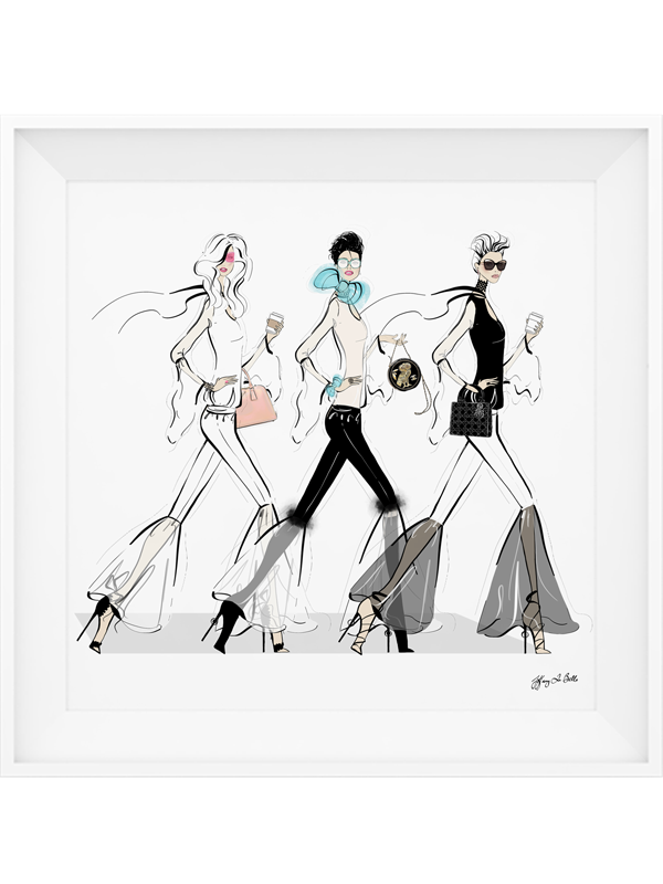 Chanel drawing print. Striding in style illustration