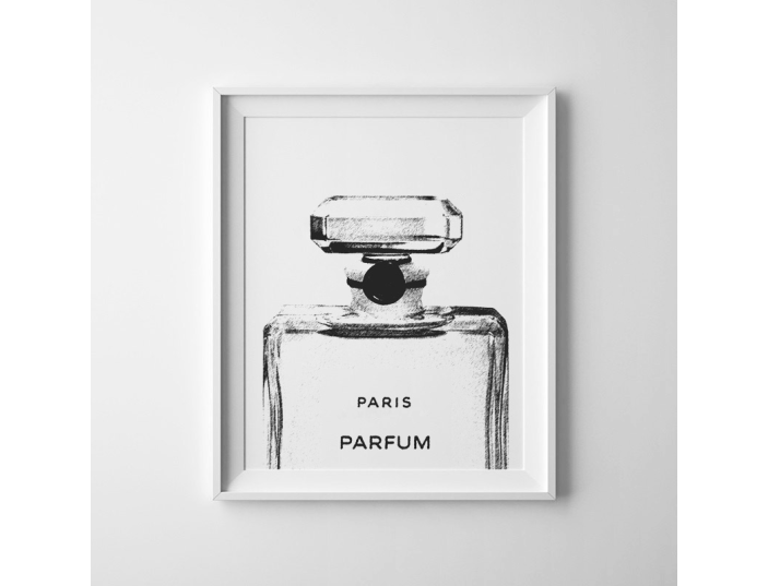 Chanel drawing black and white. Bottle sketch print