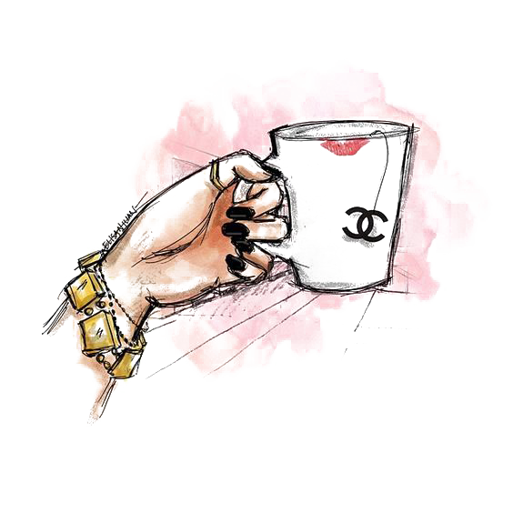 Chanel drawing. Illustration cup transprent png