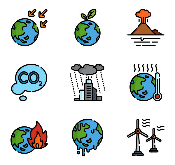 Change vector. Global warming icons free