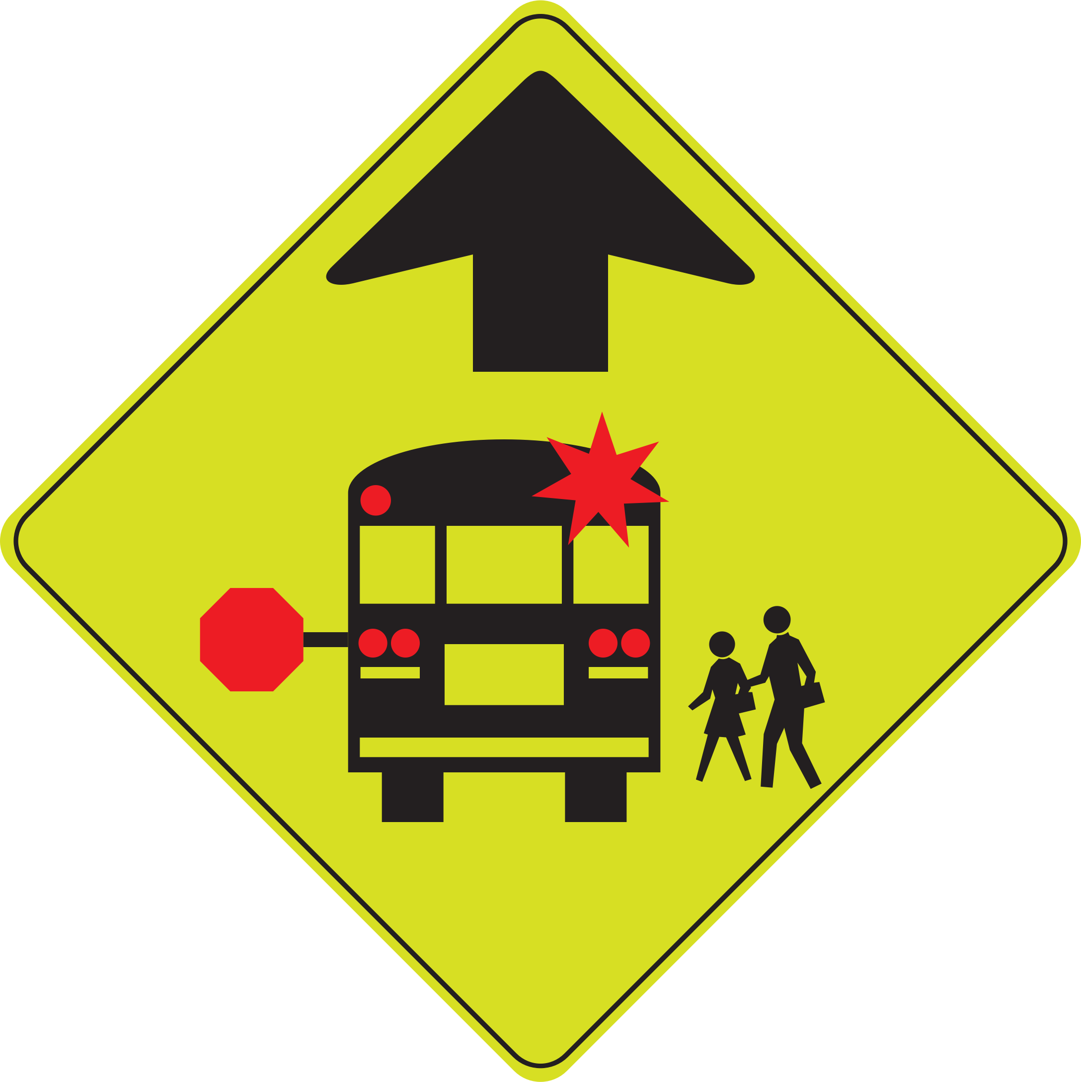 Change vector ahead. School bus stop icons