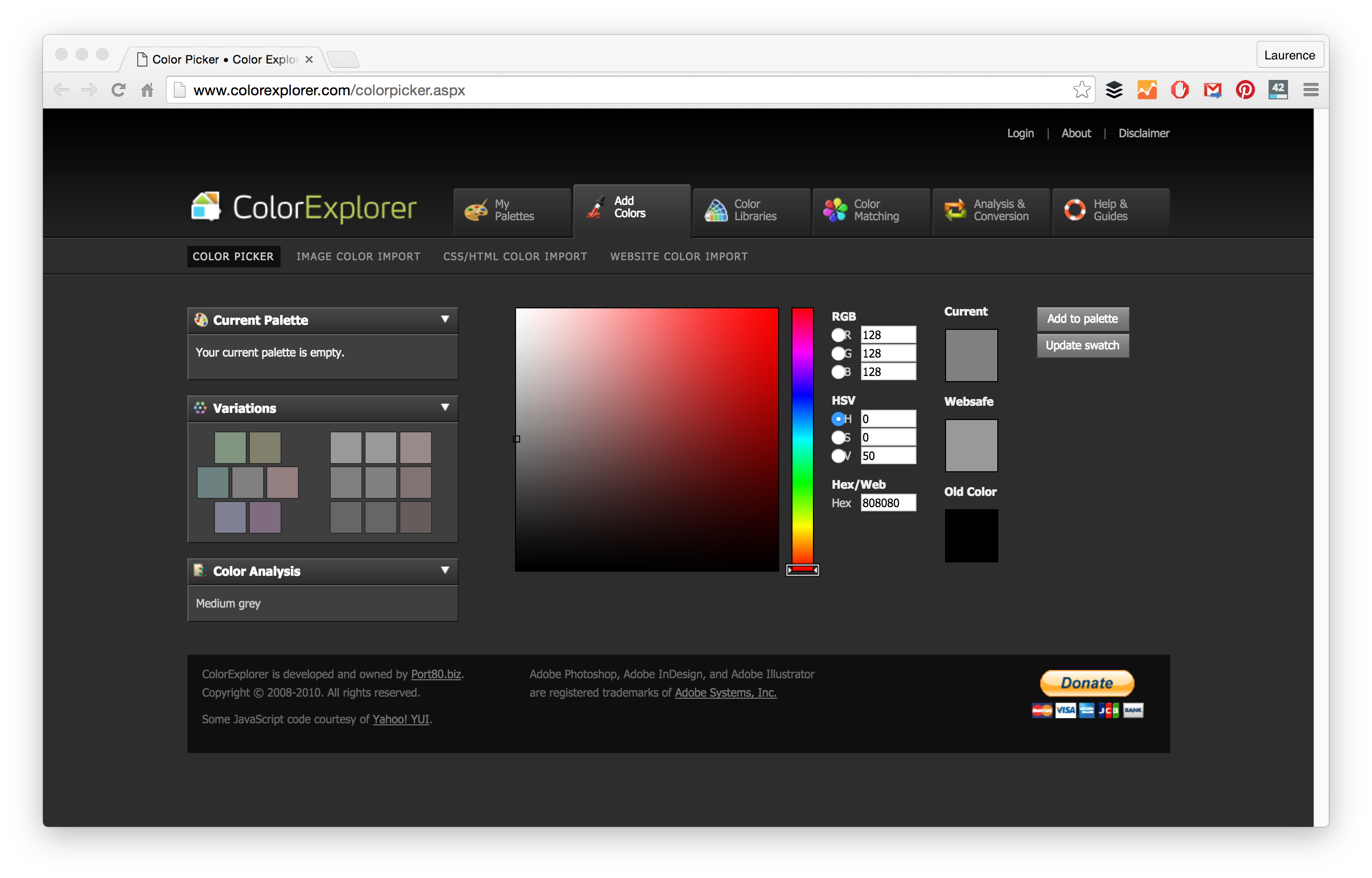 Changing color of png in photoshop. Palette tools for