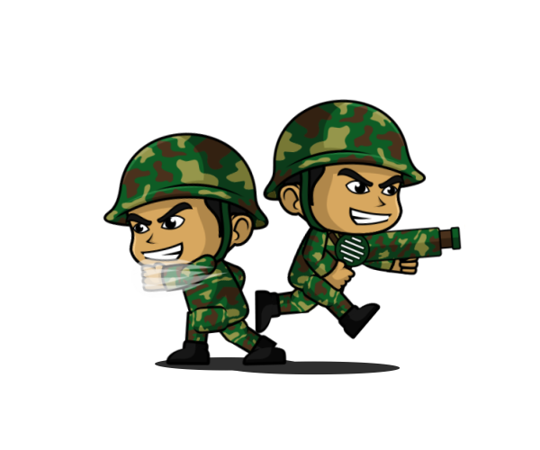 Transparent soldier animated. Green d game character