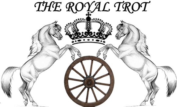 Chariot drawing pulled horse. The royal trot drawn