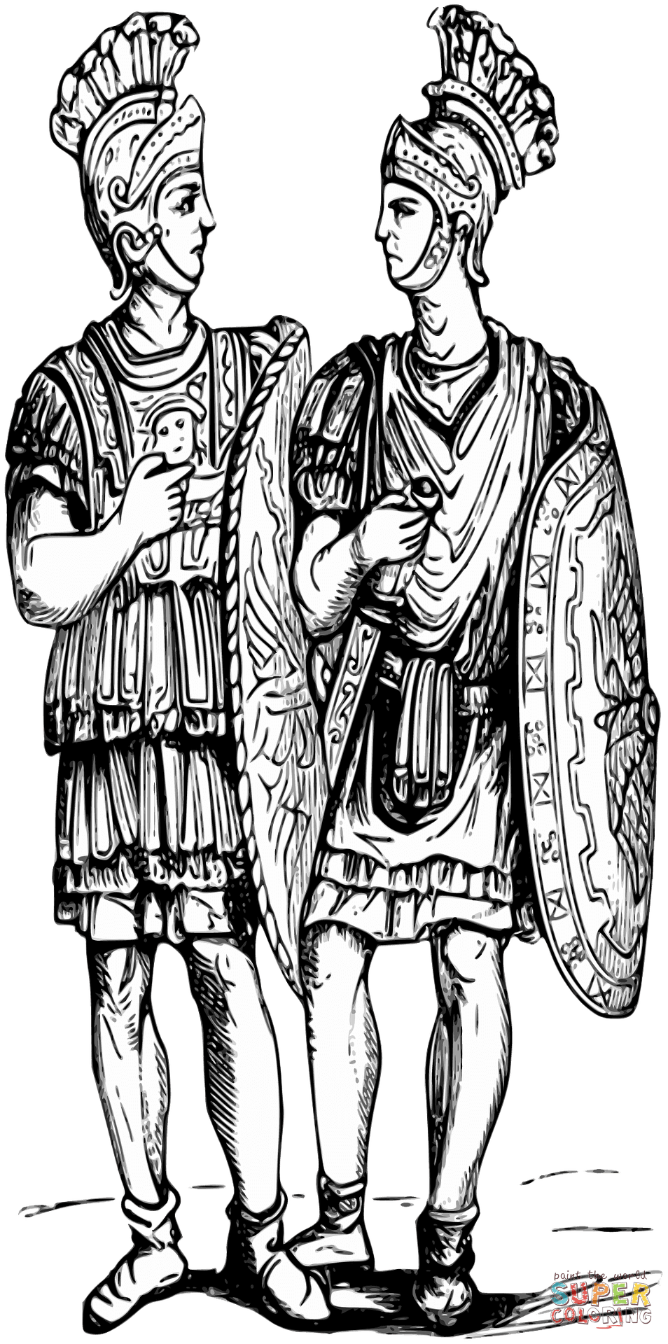 Chariot drawing roman soldier. Soldiers coloring page free
