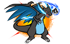 Charizard vector gyarados. Mega x fire punch