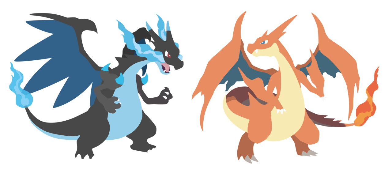 Charizard vector minimalist. Mega x and y