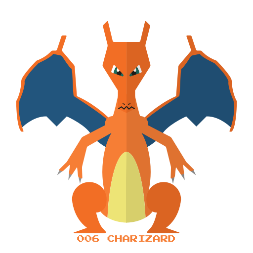 Charizard vector svg. Pokemon of kanto