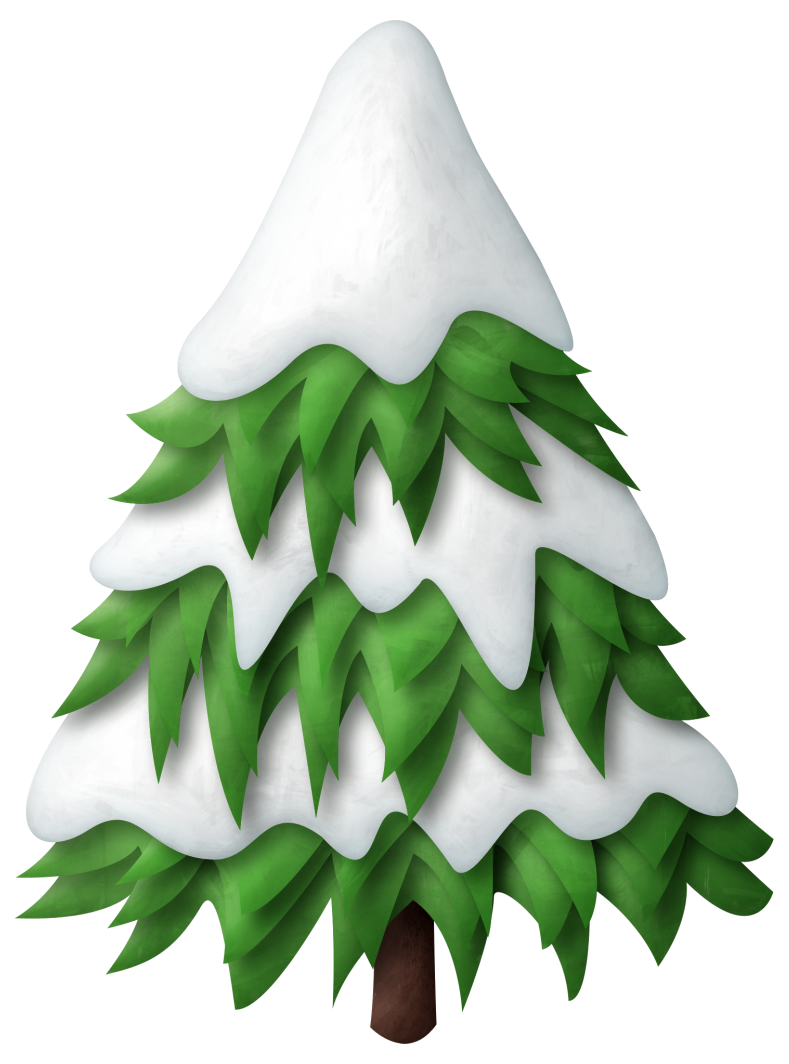Snow covered trees png. Green snowy christmas tree