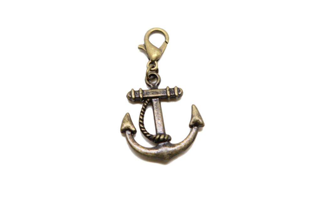 Charms clip bead. Rudder bronze charm on