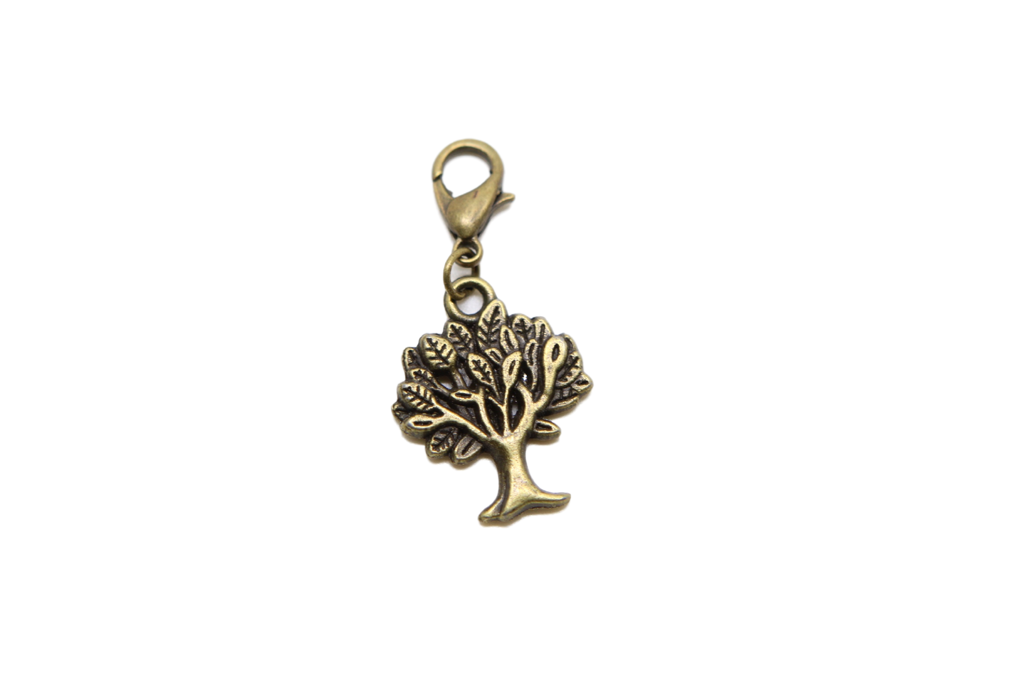 Charm clip bead. Tree bronze on for