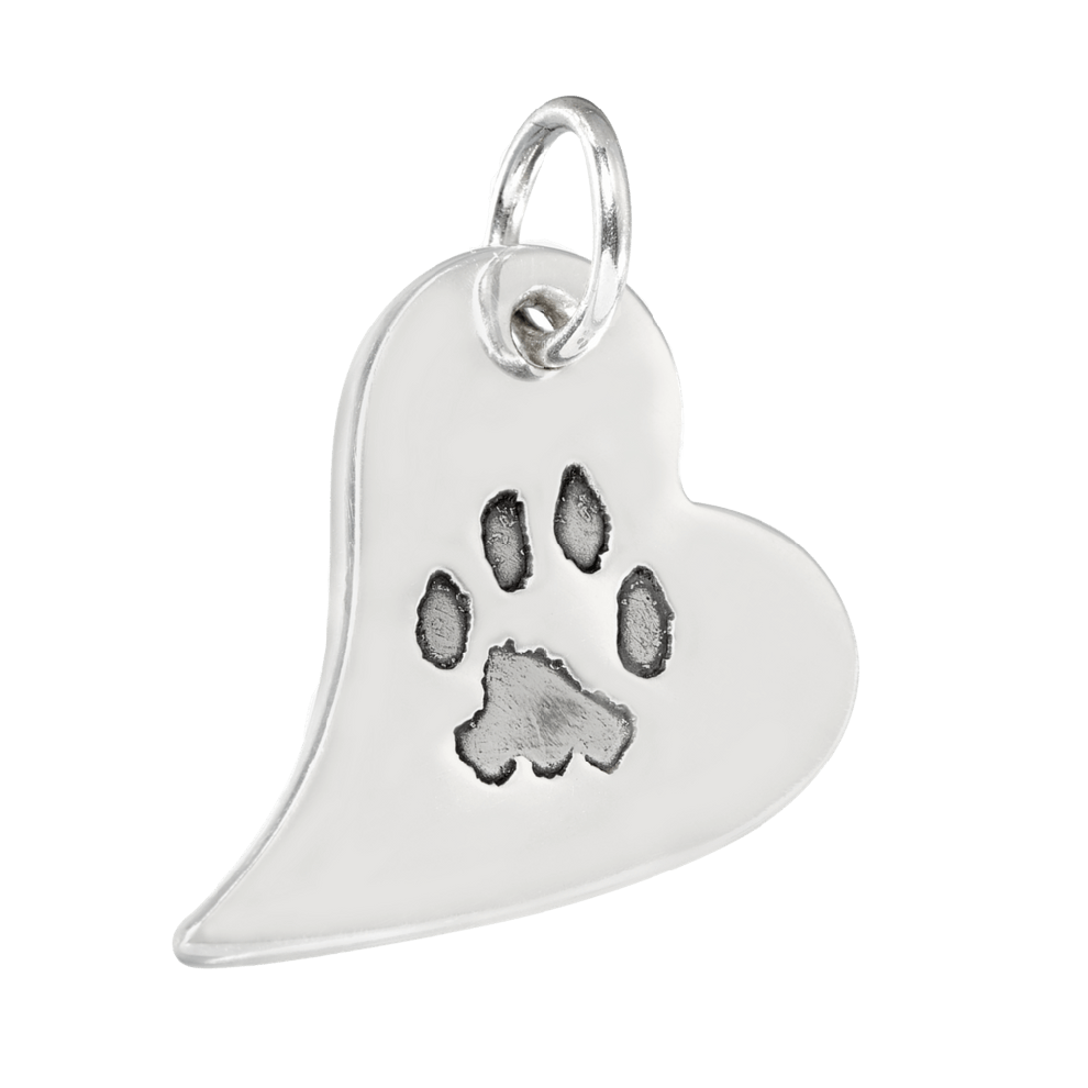 Charm clip bell. Paw print curved heart