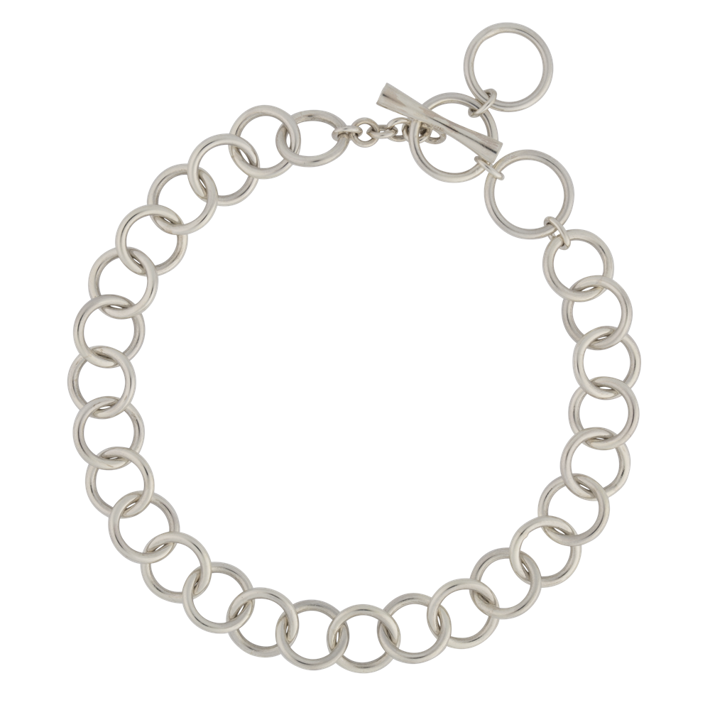 Charm clip bracelet. Circle toggle silver lily