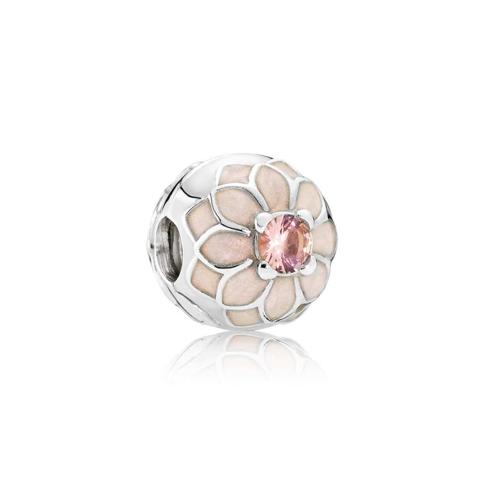 Charms clip cherry blossom. Pandora blooming dahlia cream