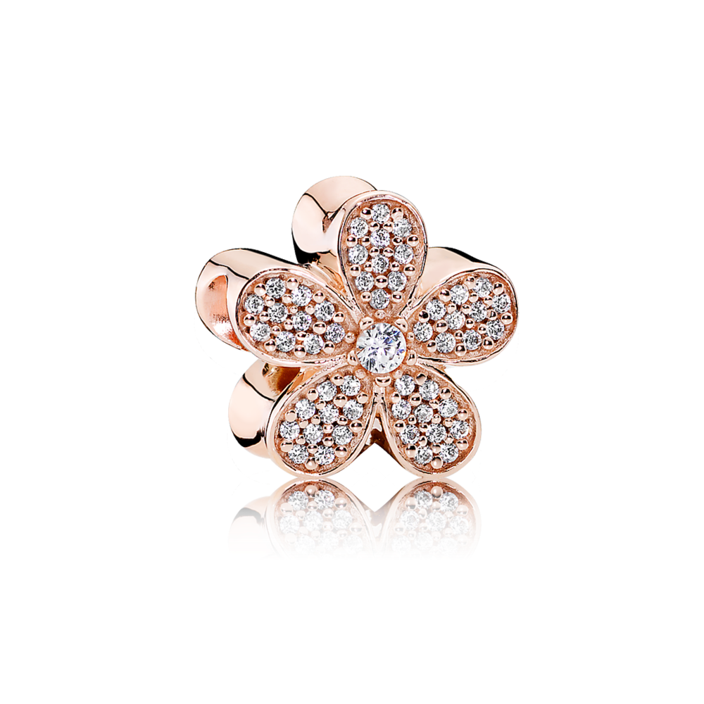 Charms clip dazzling daisy. Pandora rose clear cz