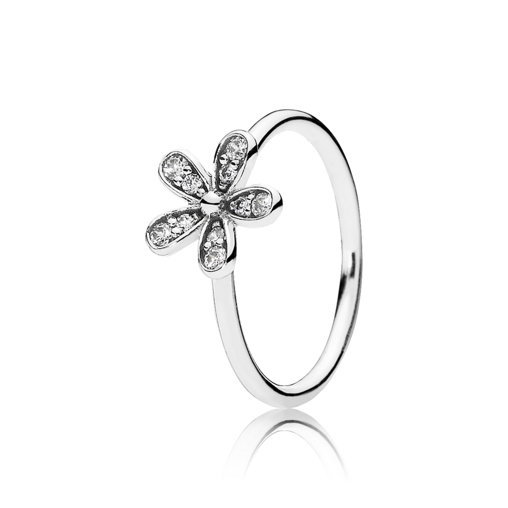 Charms clip dazzling daisy. Stackable ring clear cz