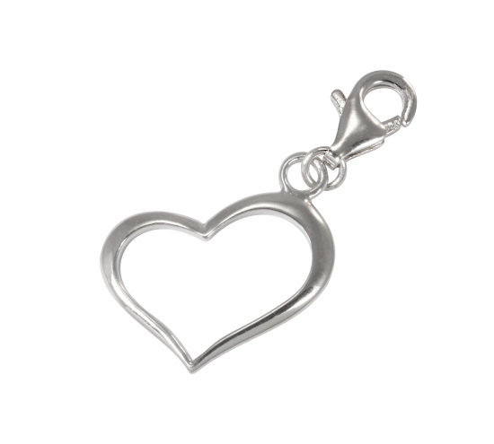 Charms clip heart. Sterling silver open on