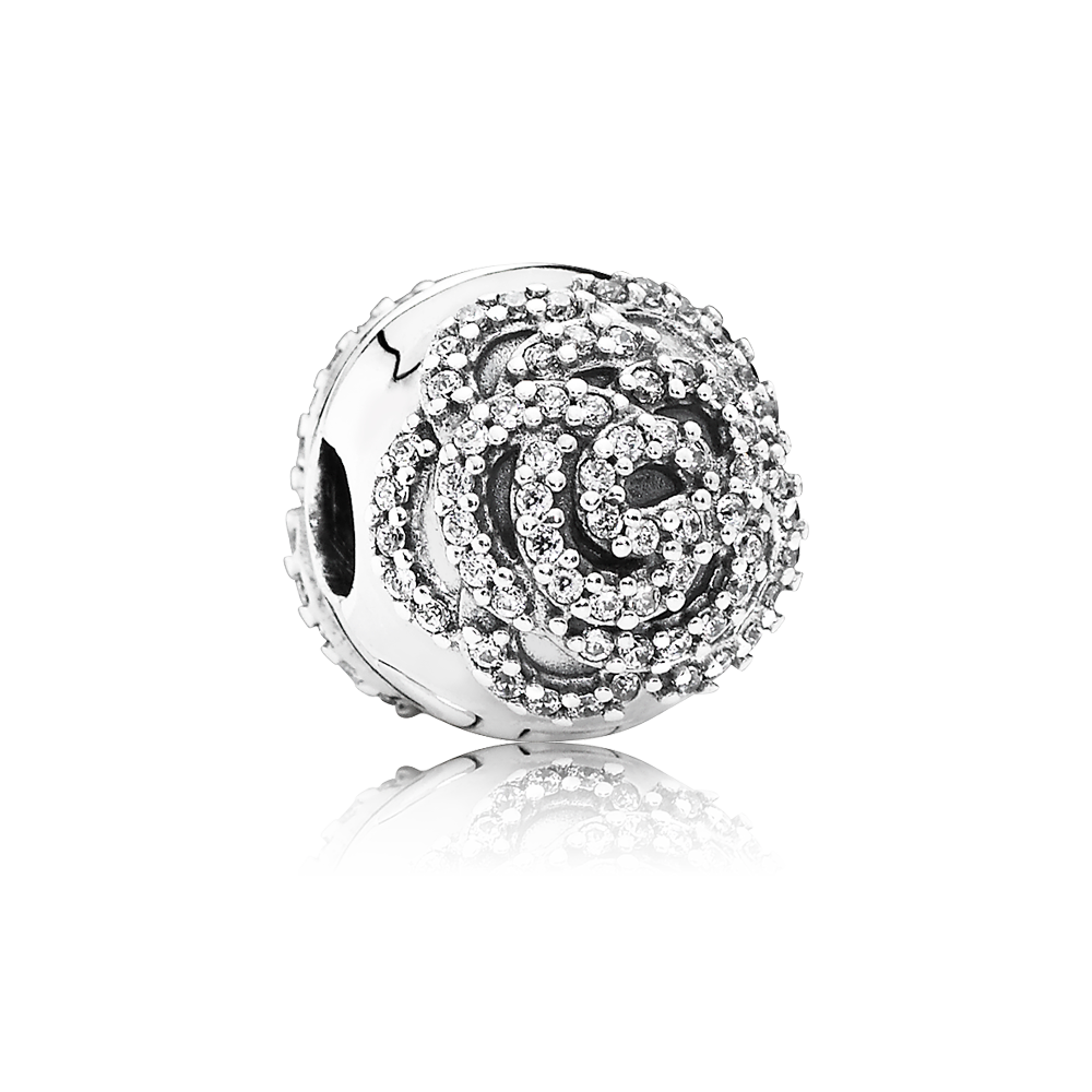 Charm clip jewelry. Pandora shimmering rose decorated