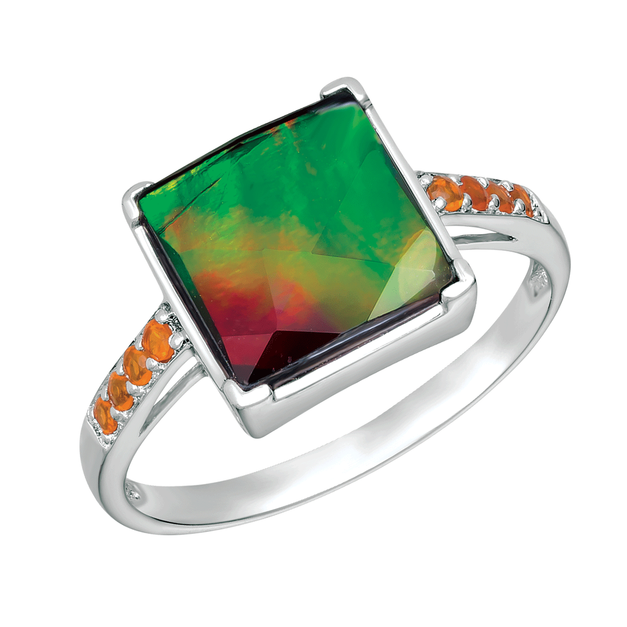 Charm clip opal. Silver square fire ring
