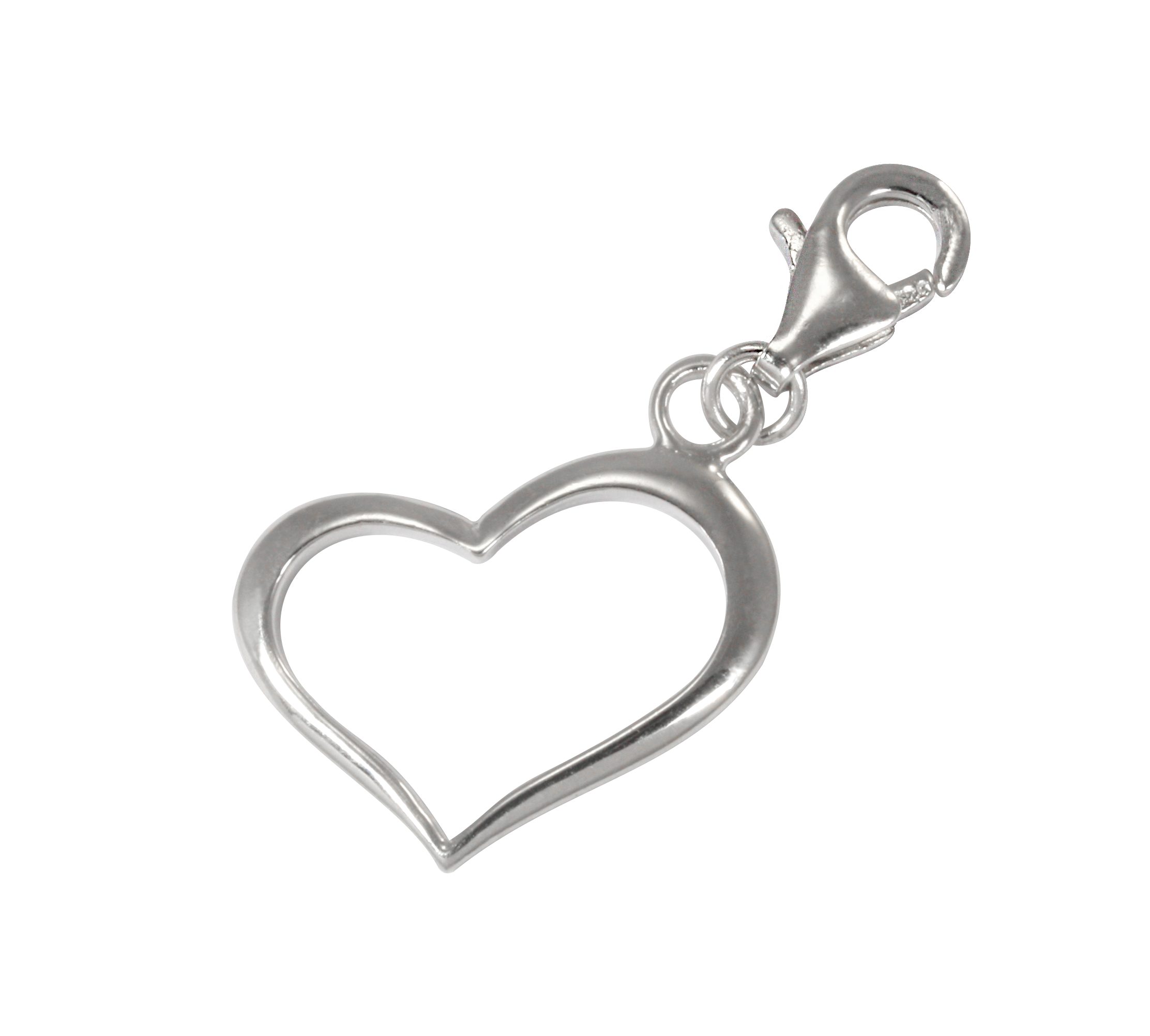 Charm clip sterling silver. Open heart on thecharmworks