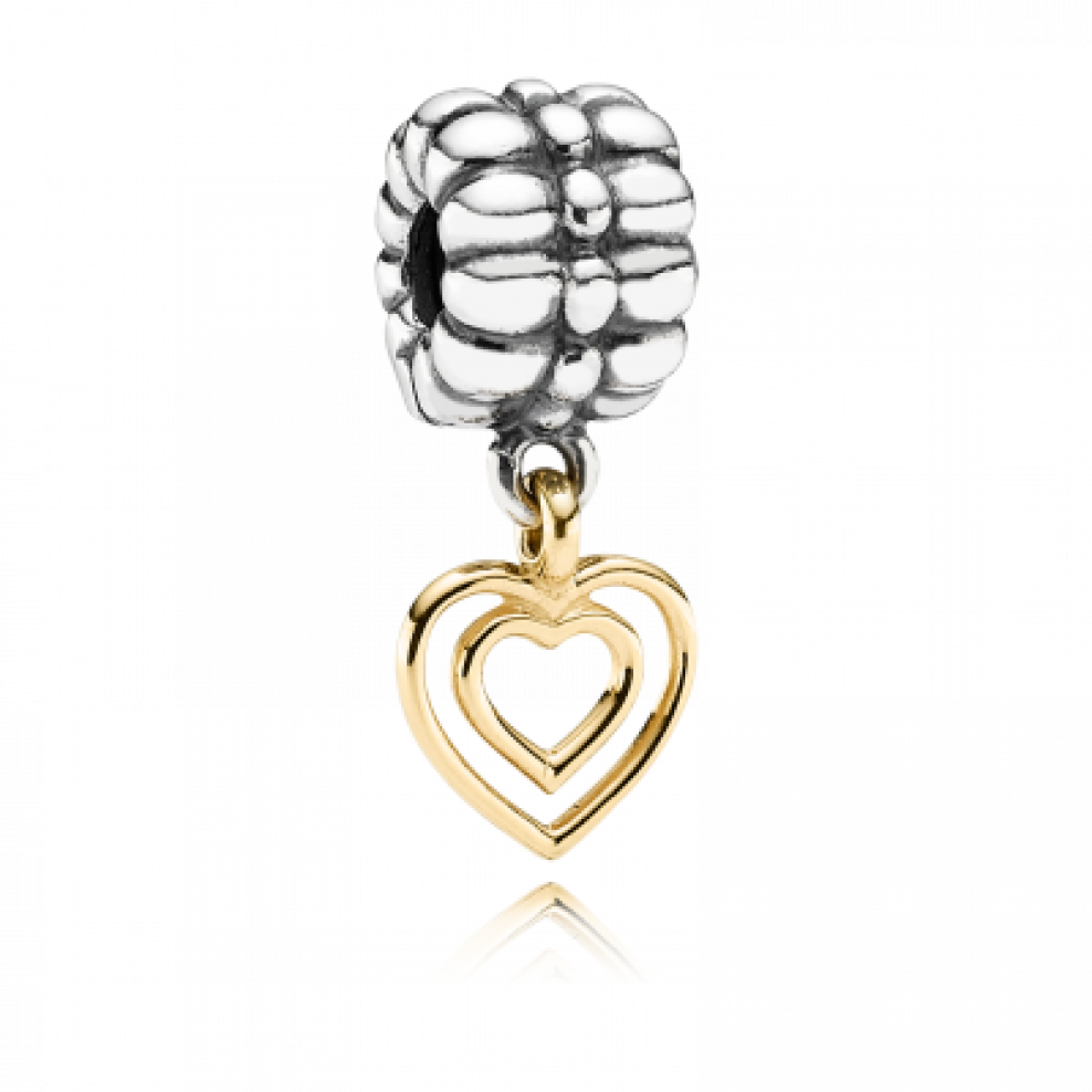 Charm clip two tone. Pandora heart of hearts