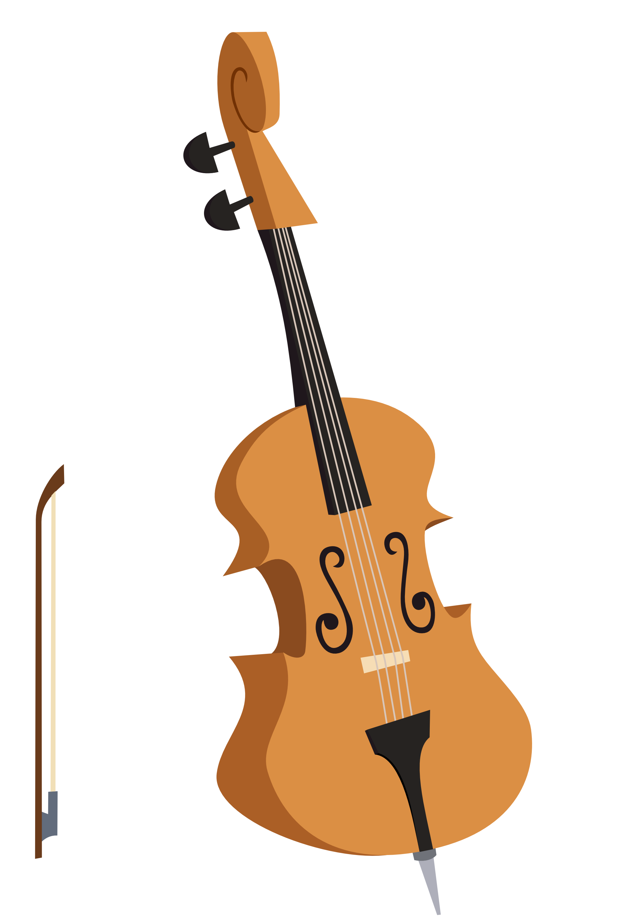 Fiddle Drawing Bass Instrument Transparent Png Clipart Free