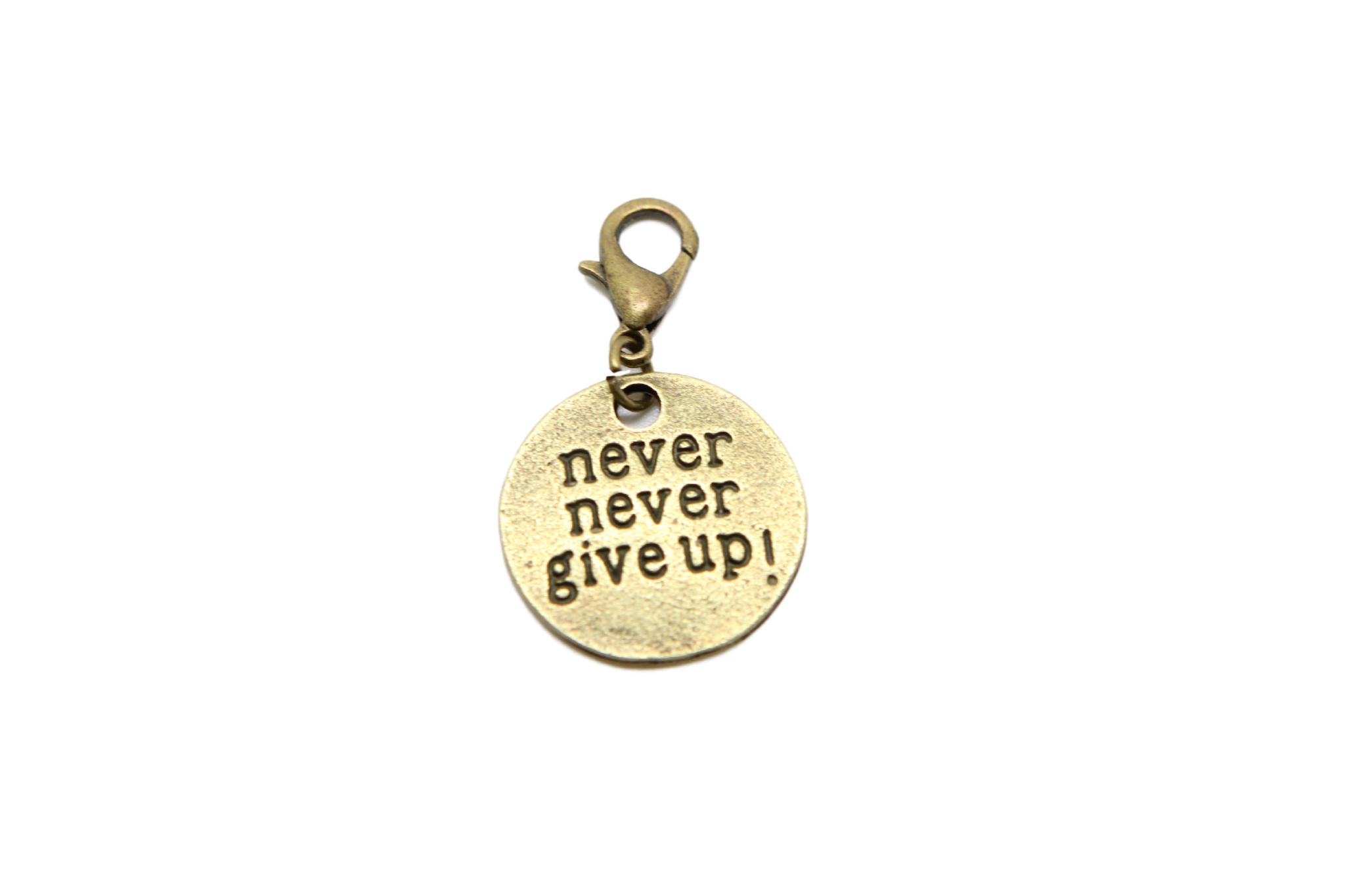 Charms clip bead. Never give up bronze