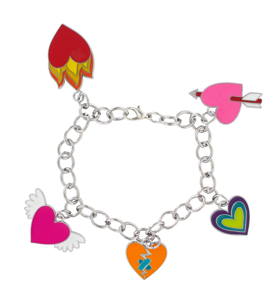 Charmant heart pylones. Charms clip bracelet picture free stock