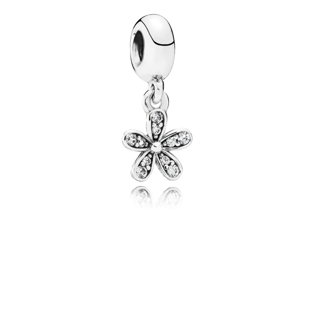 Charms clip dangle. Dazzling daisy charm clear