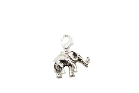 Charm clip silver. D elephant on