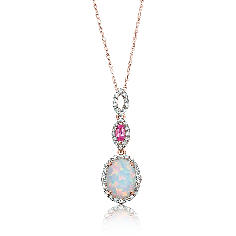Charms clip opal. Jk crown oval pink