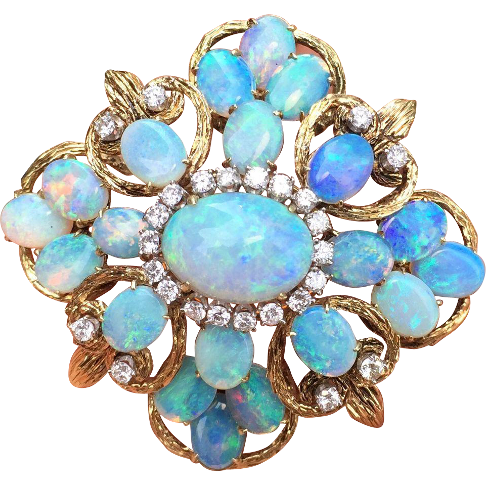 Charms clip opal. Large and diamond cluster