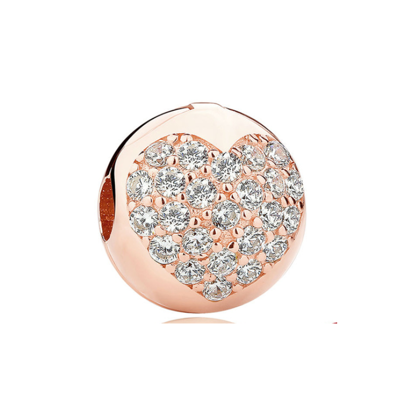 Charms clip sterling silver. Rose gold heart sphere